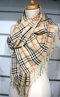 Camel Red Black Striped Burberry Design Pashmina Pashmina ...