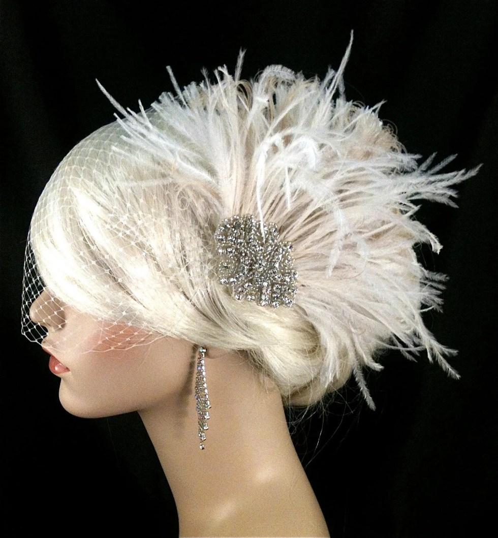 Wedding Head Piece, Bridal Feather Fascinator, Ivory Feather Fascinator, Bridal Headpiece, Wedding Hair clip, Wedding Veil -  Old Hollywood