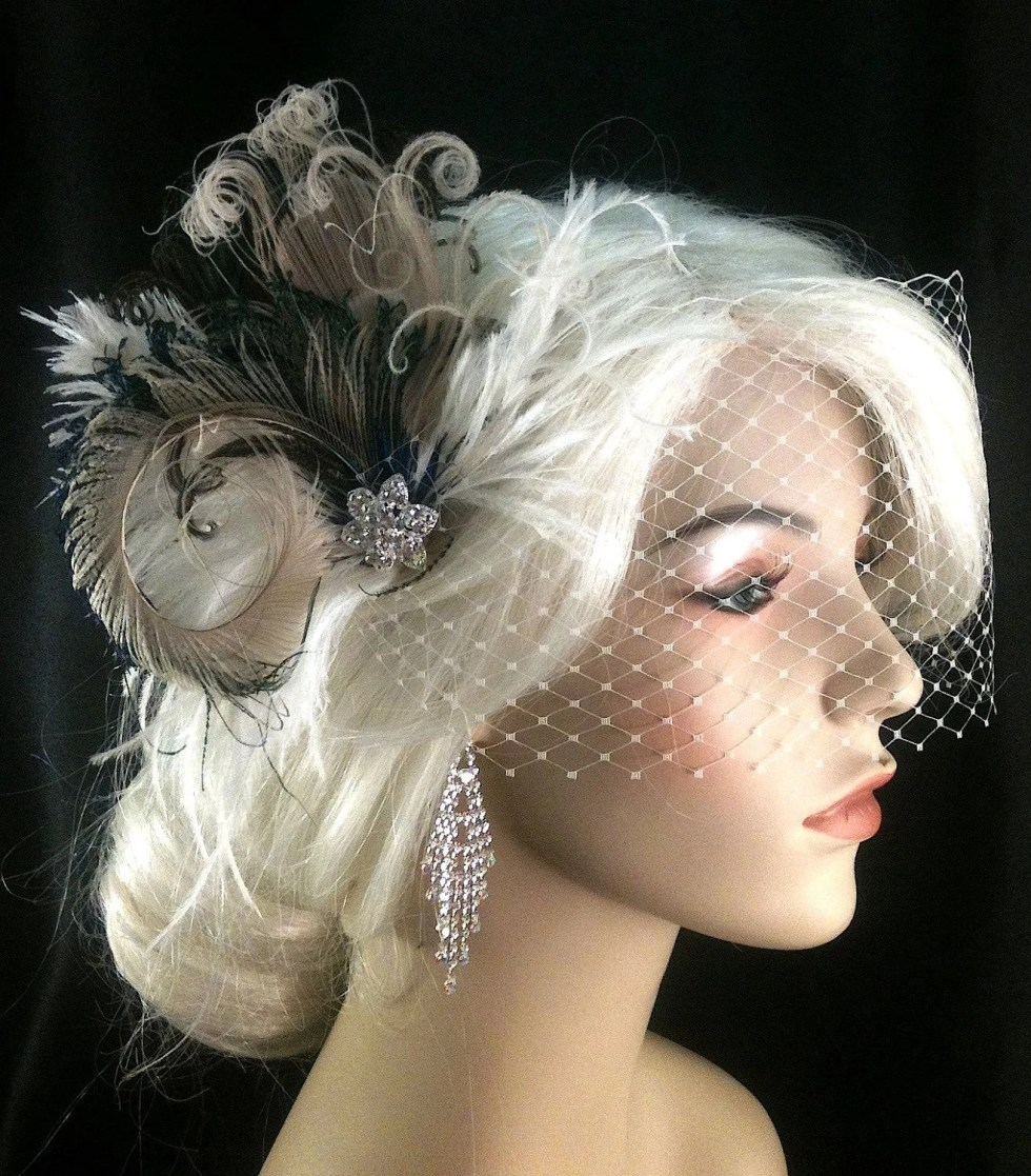 Feather Bridal Fascinator, Bridal Fascinator, Fascinator, Hair Clip, Bridal Headpiece, Wedding Veil, Bridal Veil- Rock On x 2 - Petite Size