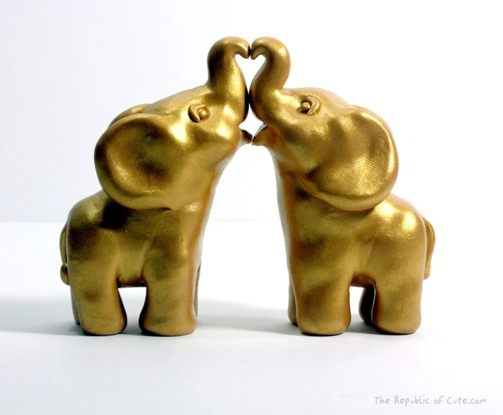 Gold Indian Elephant Wedding Cake Toppers Ready To Ship