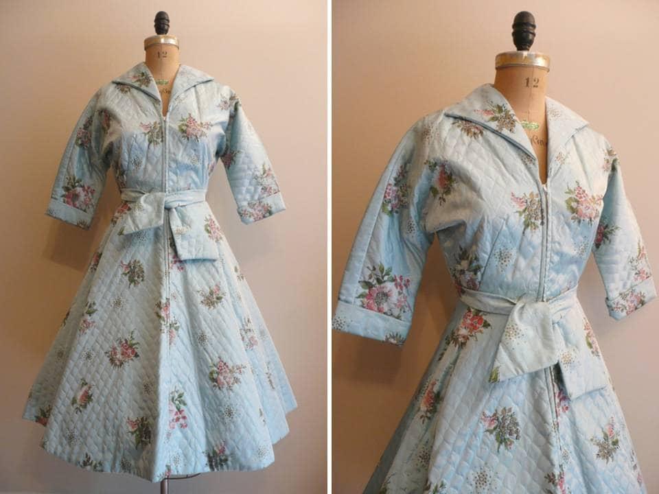 Vintage 1950s Dress House Coat Hostess Dress
