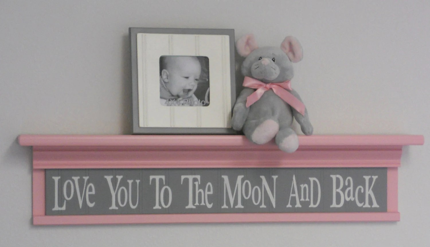 Gray And Pink Baby Girl Nursery Shelves Love You To The