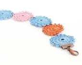 Crochet Lace Boho Chic Bracelet in Blue, Pink, Burnt Orange Hippie Boho Gypsy Style Jewelry Circle Flower Lace Doily - PinaraDesign