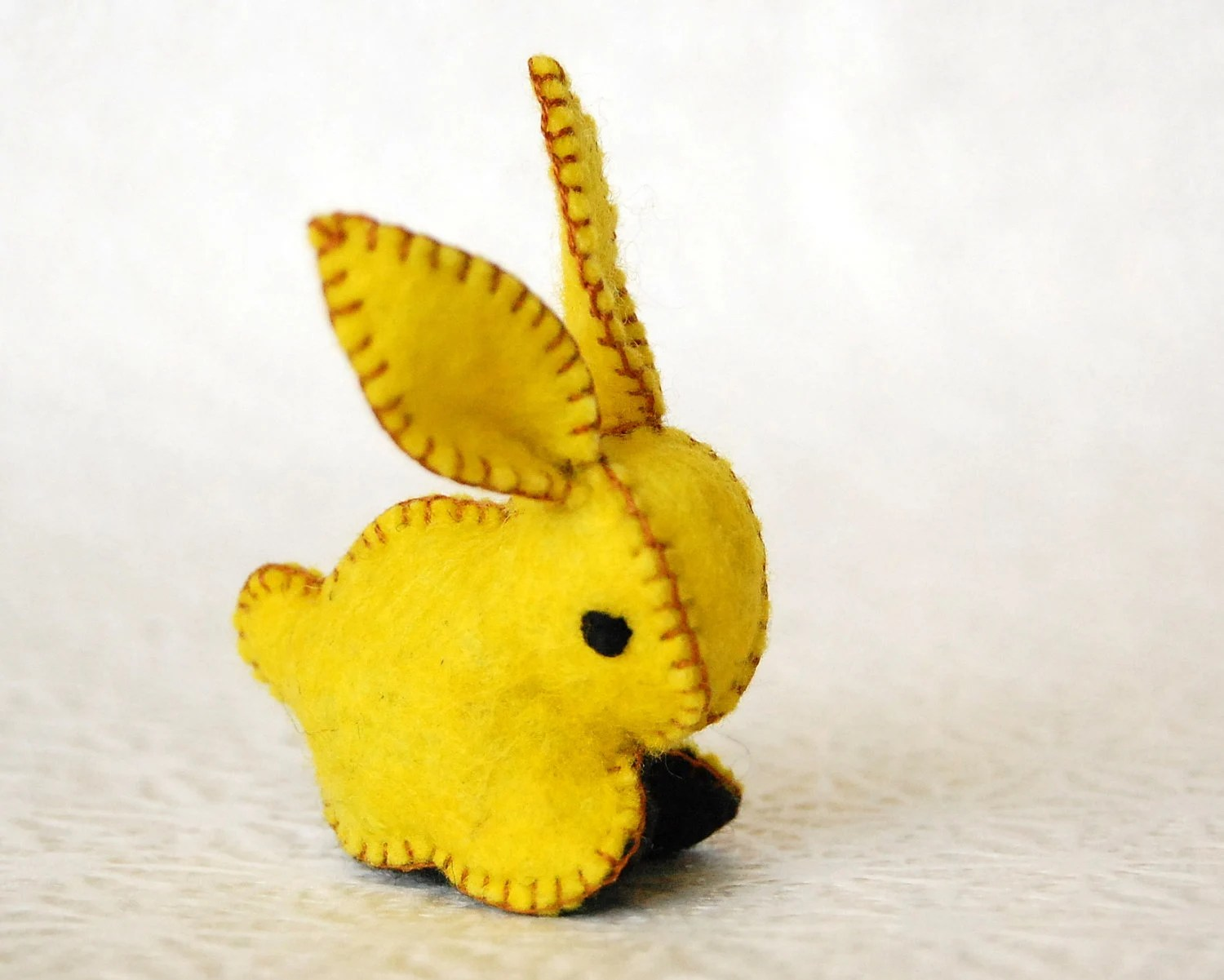 Small Bunny Rabbit Felted Toy --  Felt Bright Yellow and Black -- Handmade Animal toy - TextilePlatypus