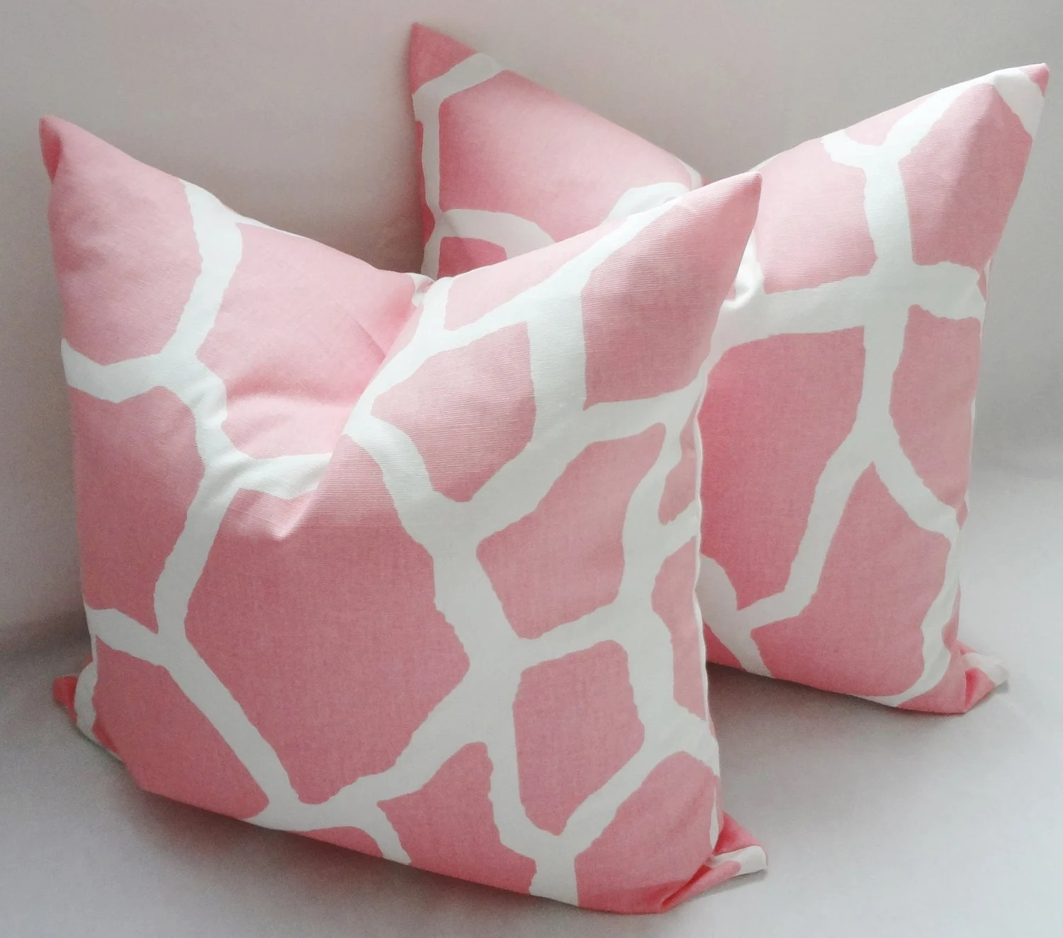 Pink  White Giraffe Nursery Baby Girl Pillow Covers Throw