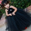 Flower girl dress black lacetutu dress with by giselleboutique
