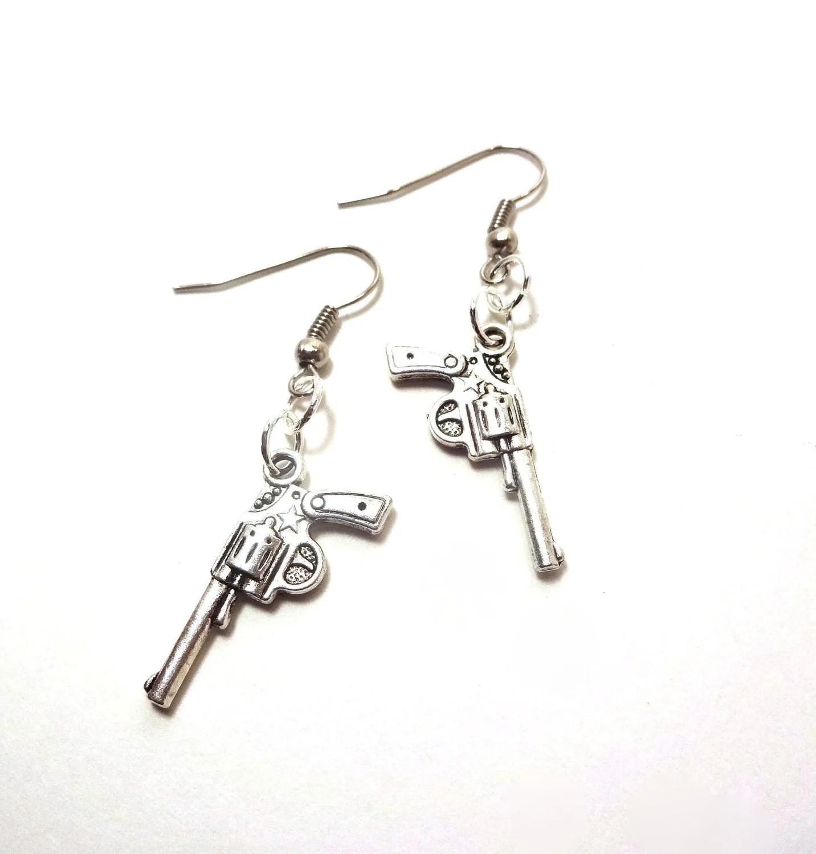 Silver Gun Earrings Dangle Earrings Gun by LittleGemGirl