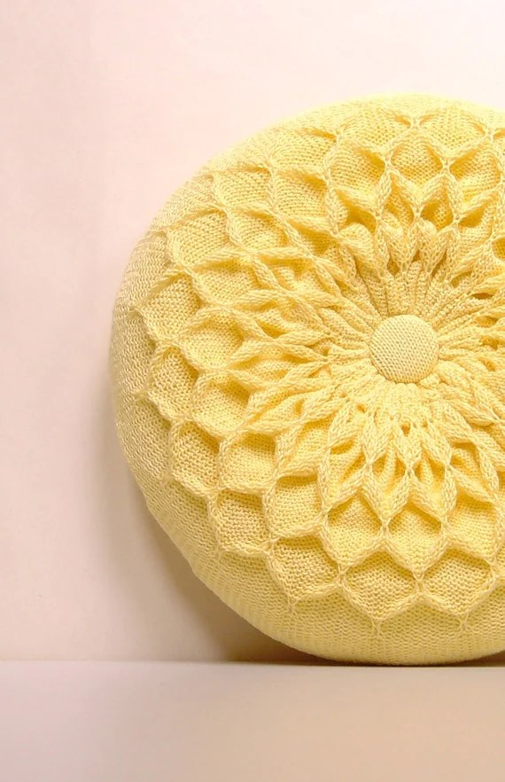 Pillow SALE Yellow Knitted Round Waffle Cushion Primrose