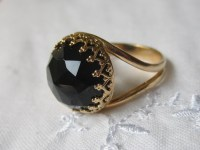 Black Onyx ring Gold ring Black gemstone ring Birthstone