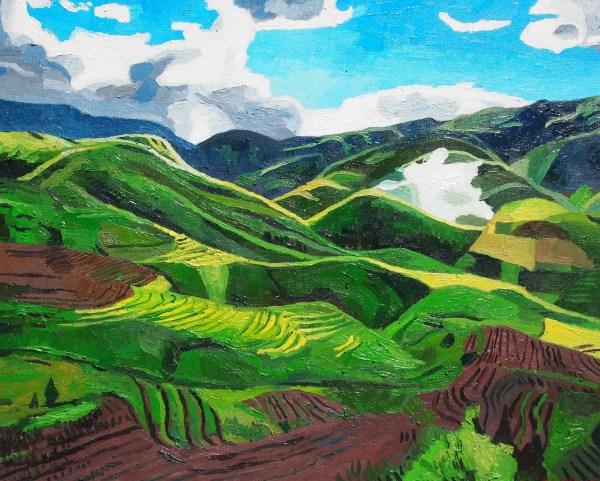 vietnam mountains. landscape. oil