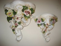 Vintage Italy Italian Ceramic Wall Sconce Shelves Floral