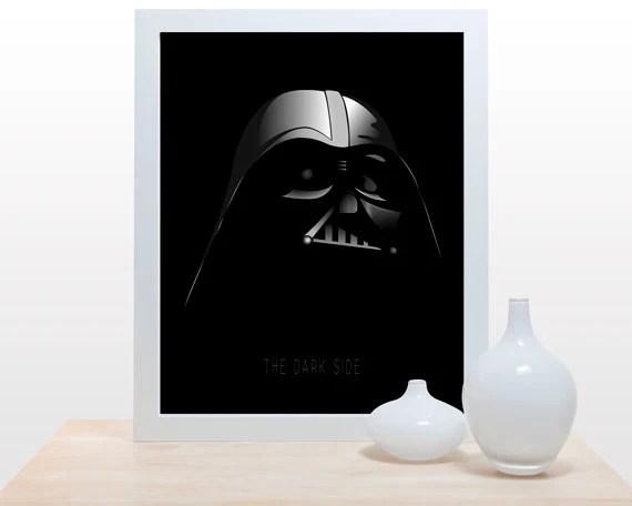 Star Wars Print Darth Vader - 11x14 modern decor wall poster art empire dark side mask black - noodlehug