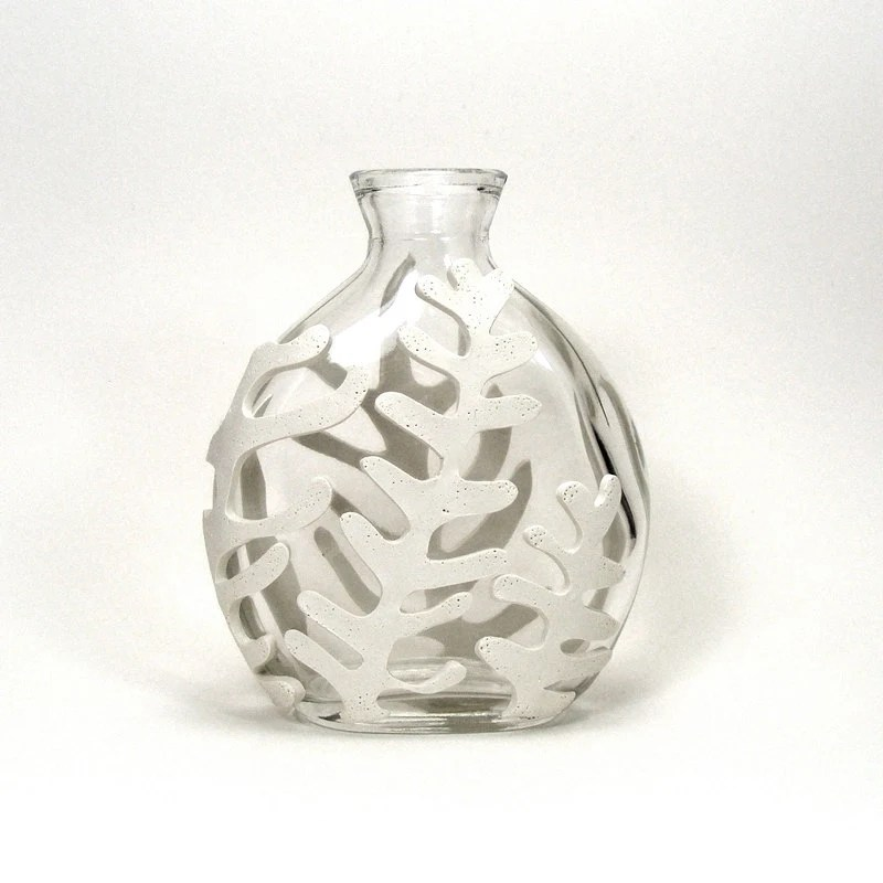 White Clay Seaweed Inspired Glass Vase - Frond  /  Papercut, Leaf, Sea, Ocean, Home Decor, Bud Vase - mkwATELIER
