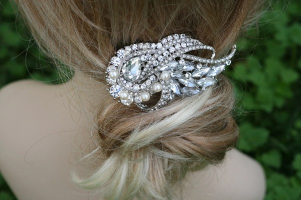 Crystal Hair Comb Barrette Swarovski Flower