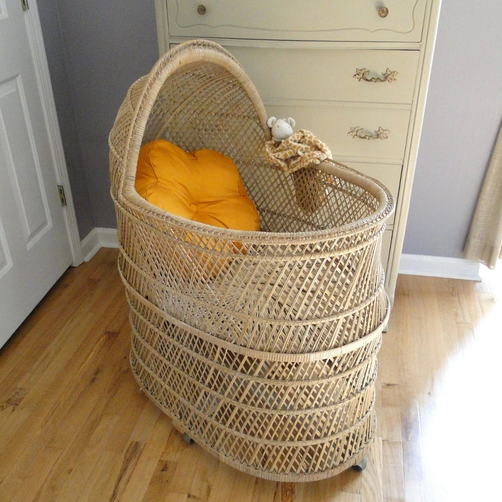 pottery barn baby chair cover 8 patio set vintage bassinet rattan cradle bohemian chic