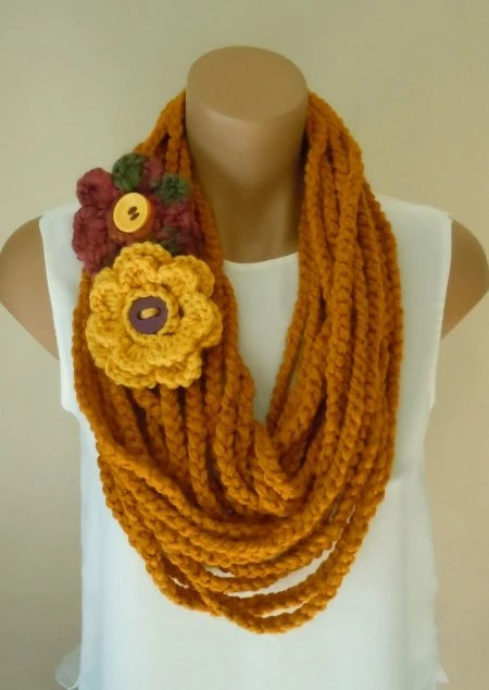 Yellow Infinity Crochet Scarf With Colorfull Floral-  Necklace Woman Scarf-Shawl--Cowl-2012 Winter Fashion Accessories-Handmade Scarf