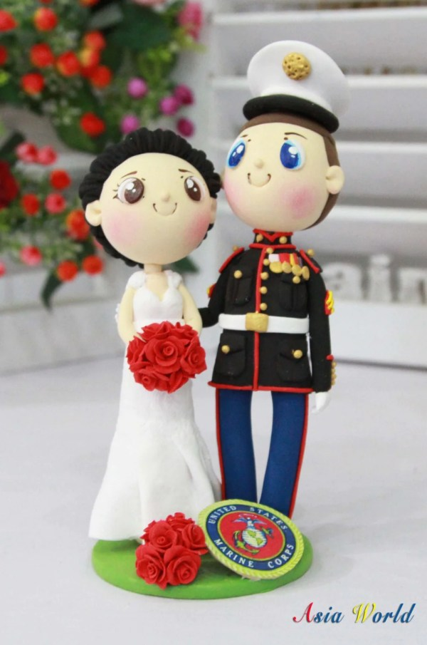 Marine Wedding Cake Topper With Corps Logo Clay