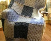 Crochet Afghan Blanket Throw  Neutral Colors Gray White Basketweave Stitch Handmade Littlestsister - LittlestSister