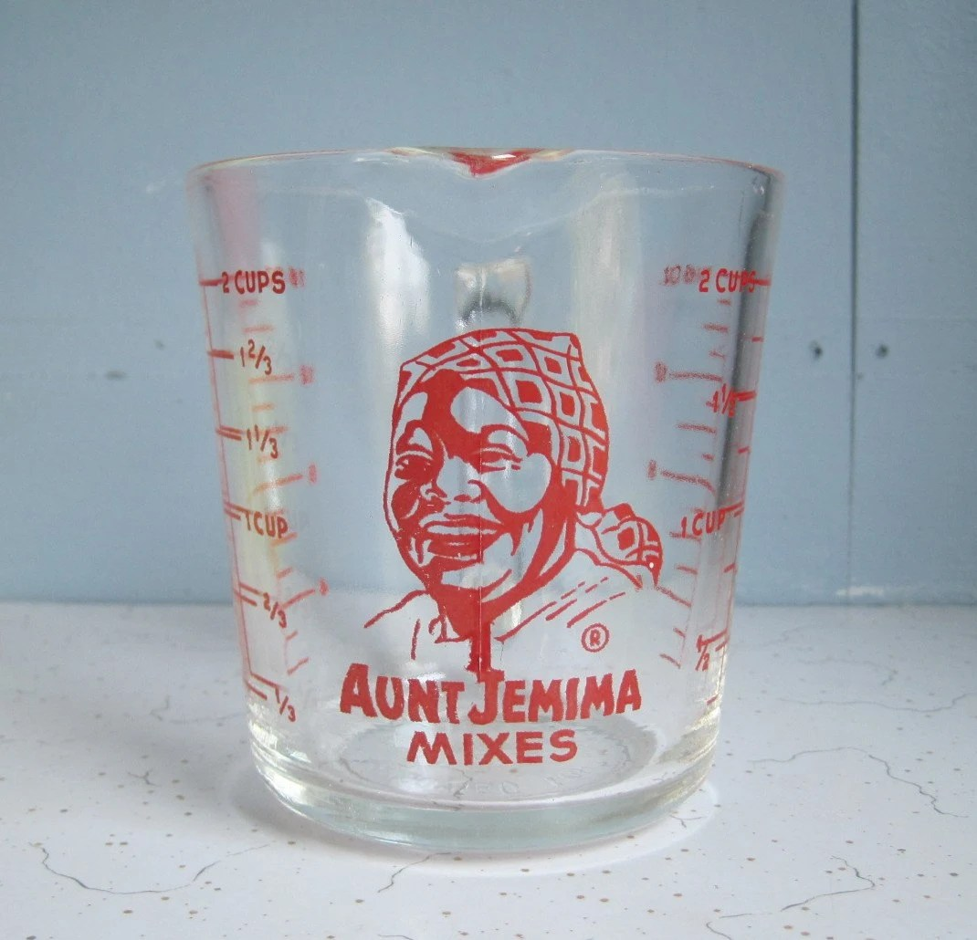 aunt jemima kitchen curtains diy cabinet doors vintage fire king measuring cup