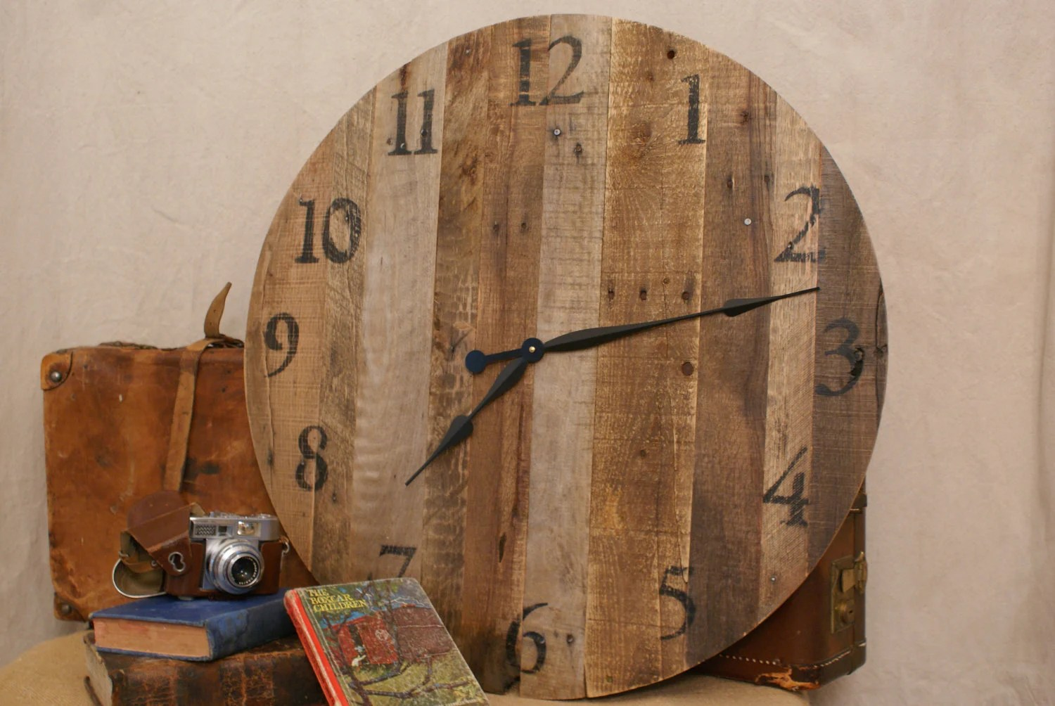 Large Round Reclaimed Wood Clock