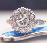 Engagement Ring. Vintage Diamond Cluster Flower Design.