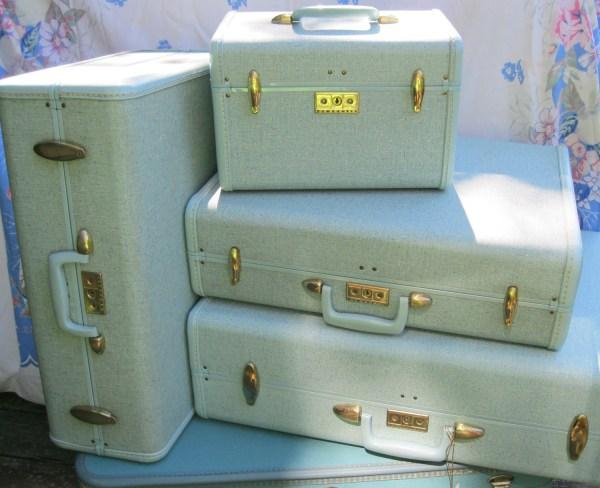 Wardrobe Suitcase Samsonite Streamlite Hawaiian Blue Vintage