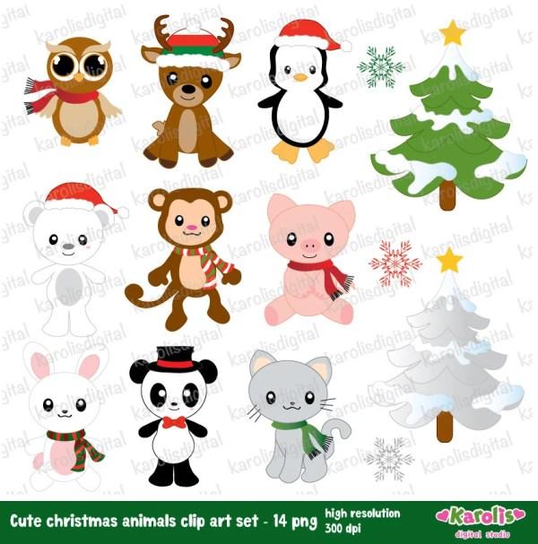 cute christmas animal drawings
