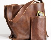 Brown leather tote bag, shopper bag leather tote, Brown handbag, Brown cow leather - maykobags