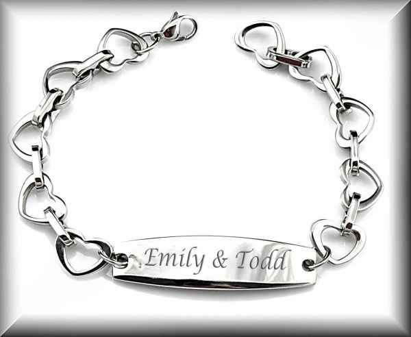 Personalized Silver Heart Link Bracelet Custom Engraved Free