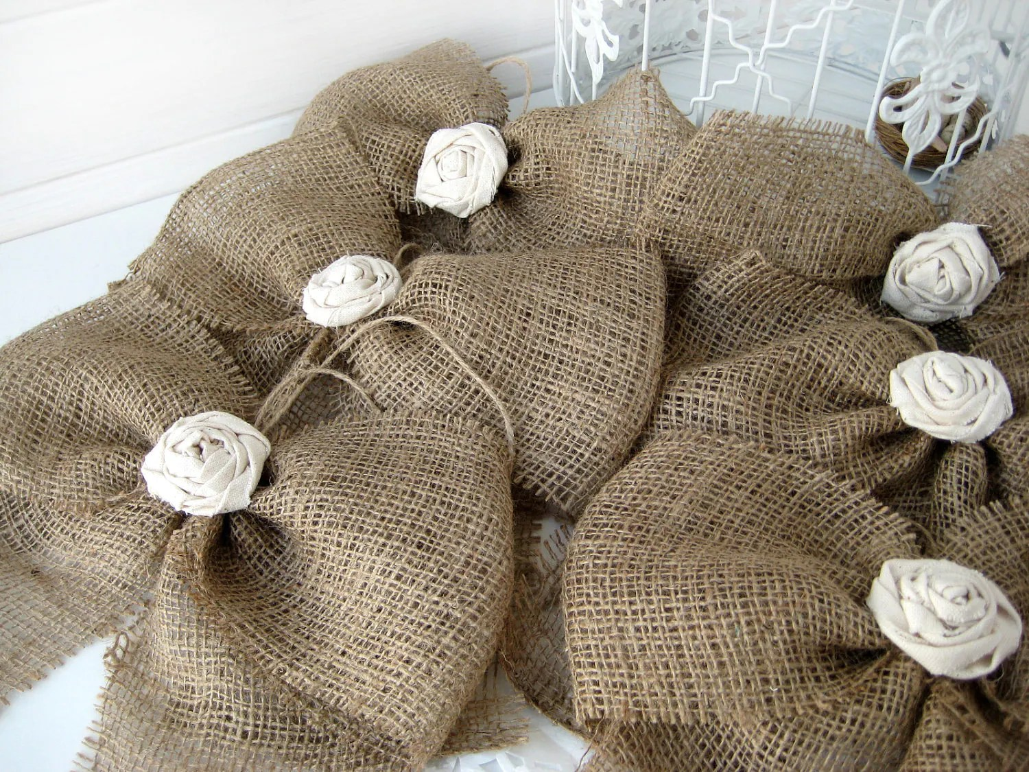 burlap bows for wedding chairs best toddler chair kitchen table bow rustic fabric rose set of 6 pew by