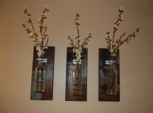 Wine Bottle Wall Art Wall Vase Handmade by BloomingHomeDesigns