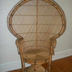 Fan Back Wicker Chair Ikea Side Chairs Large Vintage Hollywood Regency Peacock