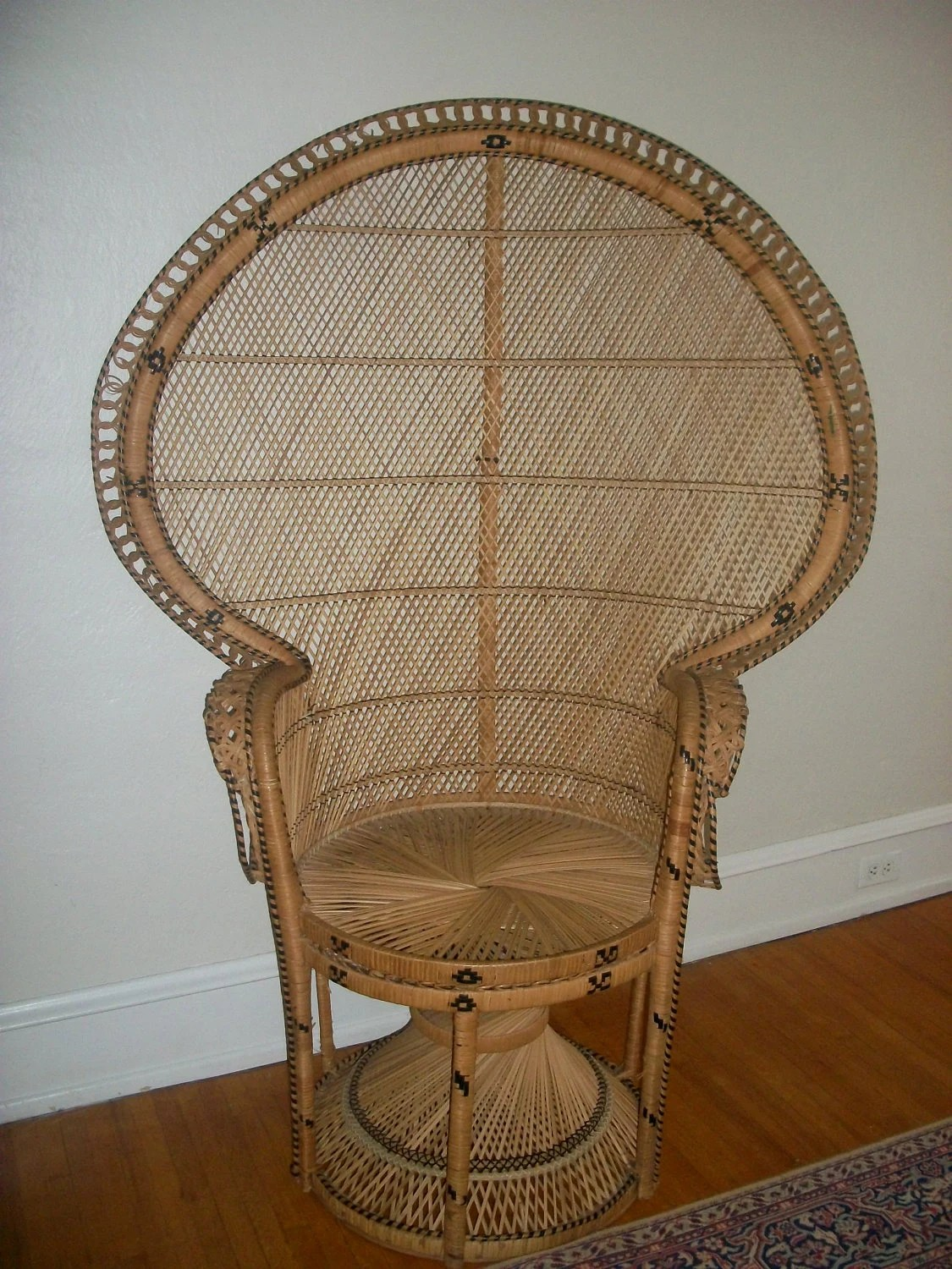 Fan Back Chair Large Vintage Hollywood Regency Fan Back Peacock Wicker Chair