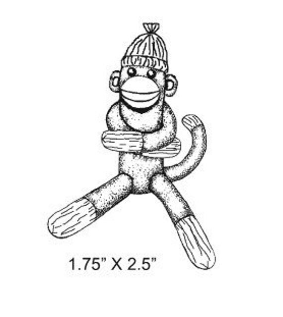 Items similar to Sock Monkey Hugging Rubber Stamp 297