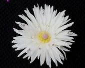 White Hair Flower, Prom Flower, Rhinestone Clip, Hair Accessory, Bride Flower, Bridesmaid Clip