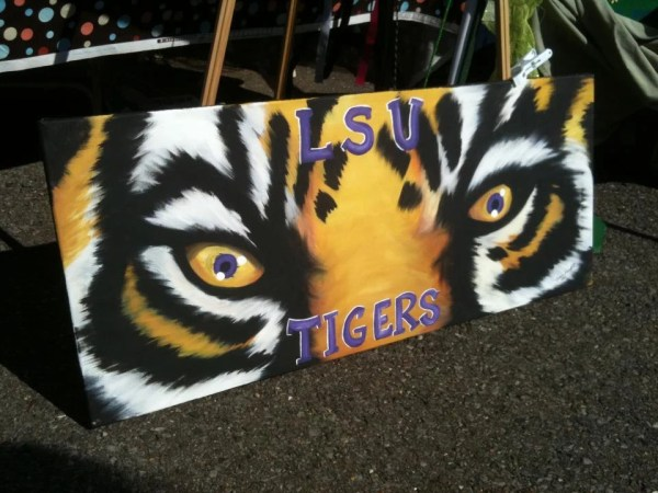 Items similar to LSU Tiger Eyes Painting on custom made