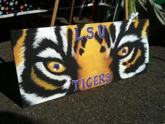 Items similar to LSU Tiger Eyes Painting on custom made