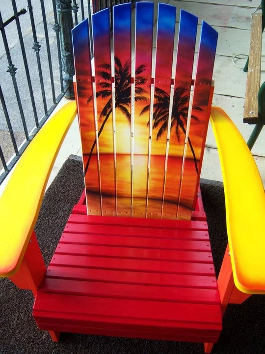 Items similar to Sunset Adirondack Chair Hand Painted on Etsy