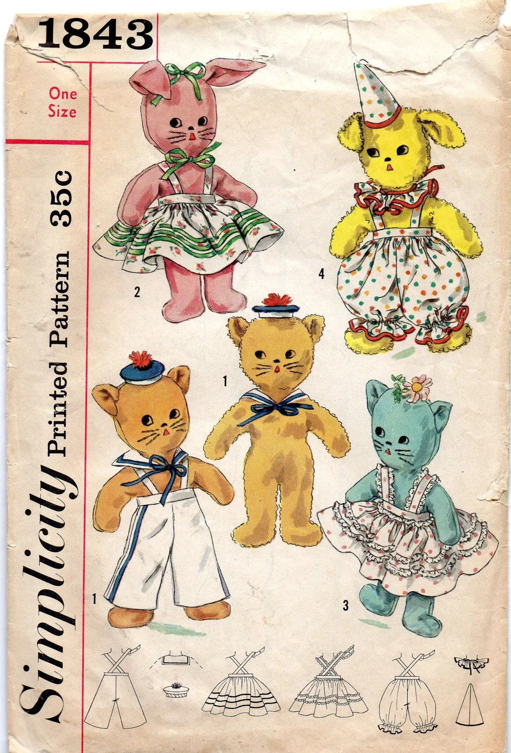 Simplicity 1843 1950s Stuffed Animal Toy Pattern And Clothes