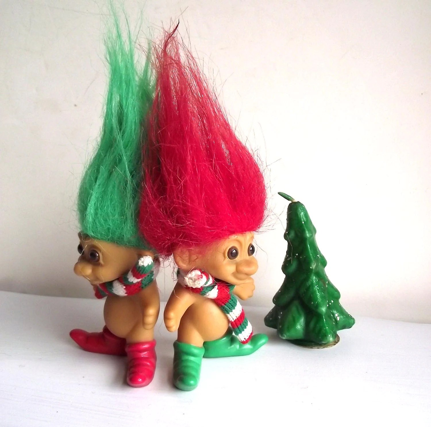 Christmas Troll Dolls Vintage 80s Russ Trolls Collectible