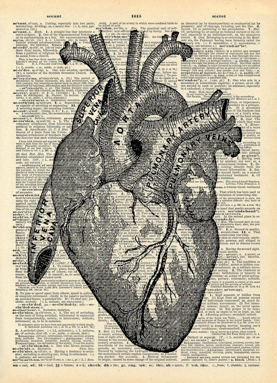 Vintage Book Art Print Anatomical Heart Art Upcycled Book