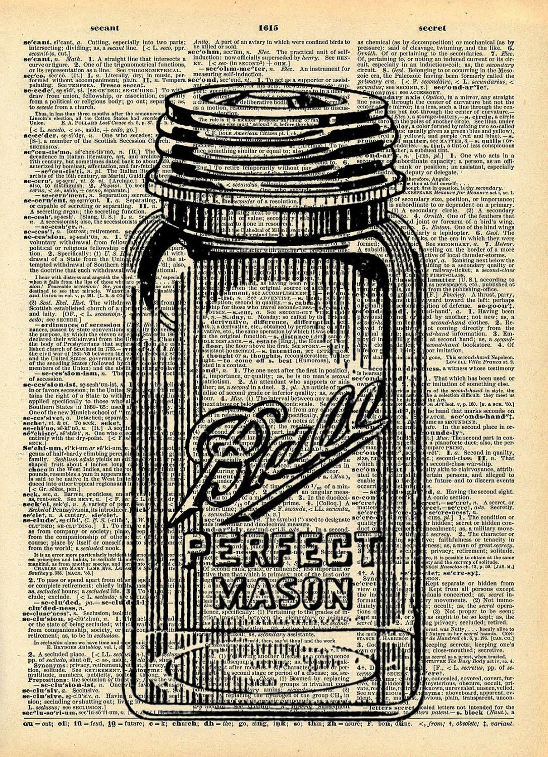vintage posters for kitchen summit all in one old book art print mason jar decor