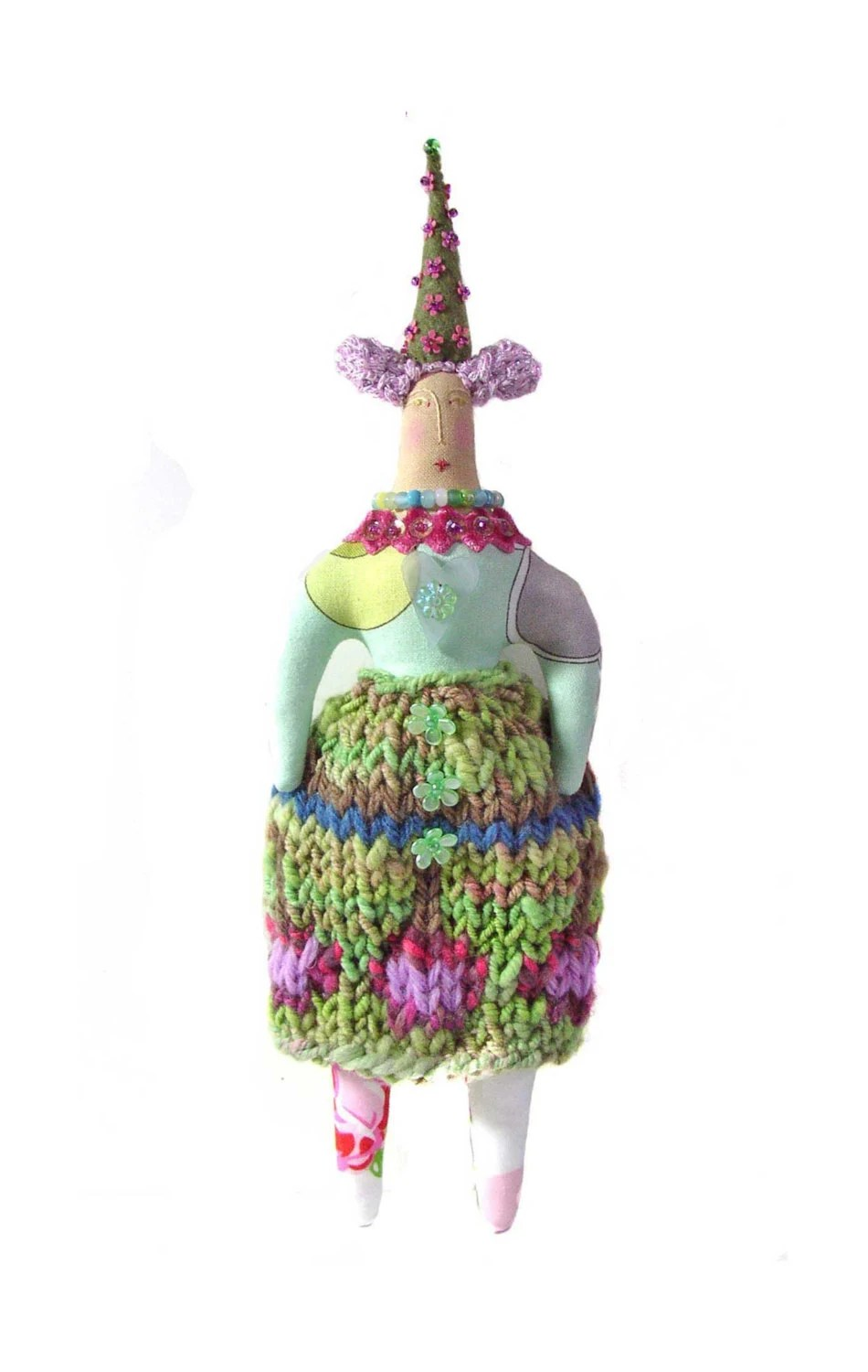 SALE  Whimsical Textile Art Cloth Doll with a Tall Cone Hat   Use coupon code SEA15 at checkout for 15% Off.