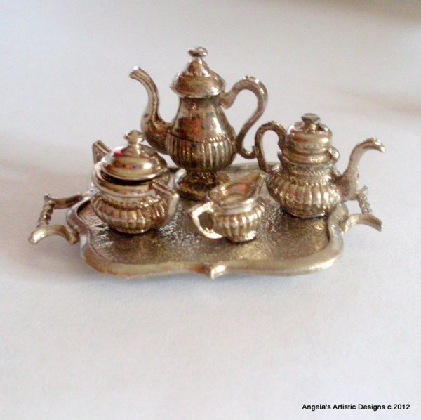 Miniature tea set with tray metal dollhouse by AngelasArtistic