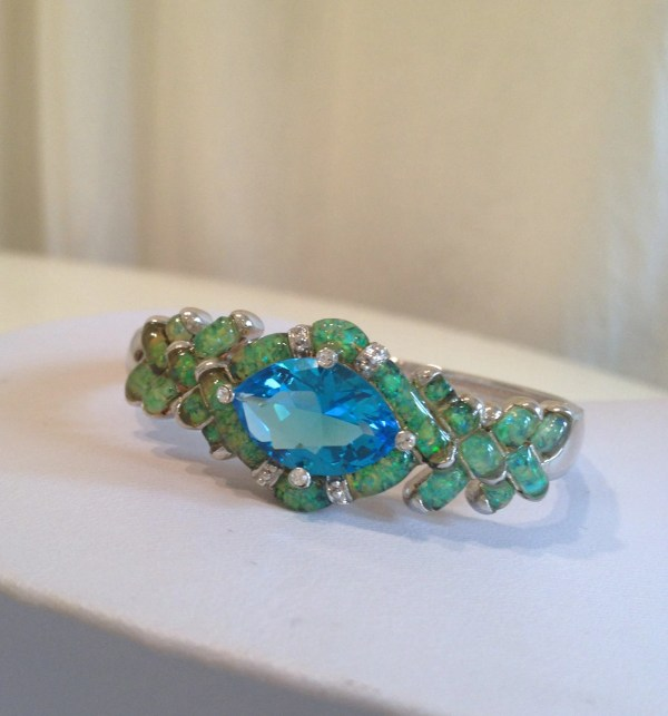 Vintage Aquamarine And Opal Estate Jewelry Bracelet