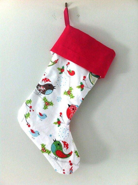 Black Friday, Cyber Monday Sale Christmas Stocking for Kids with beautiful Bird Pattern and Red/Green Cuff
