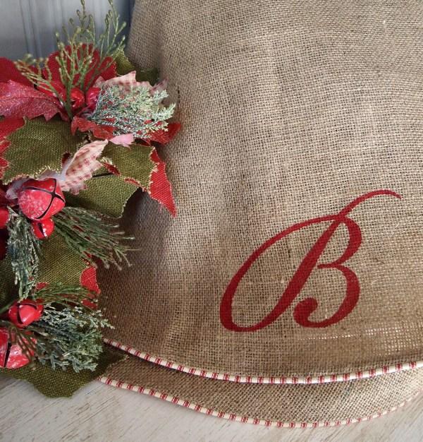 Natural Burlap Christmas Tree Skirt Red White
