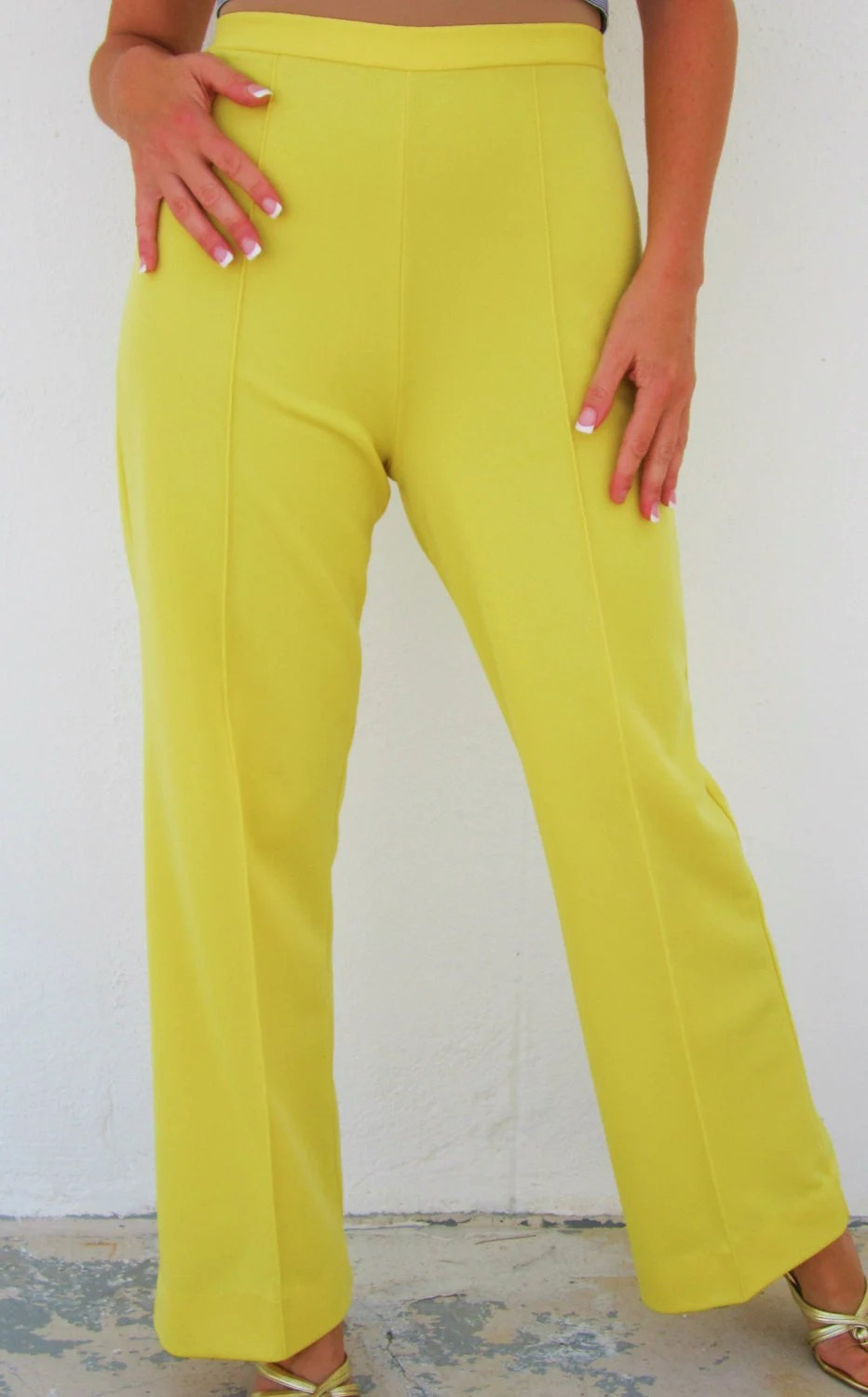 70s SUPER HIGH WAISTED Pants Bright Yellow Flares Mod Hippie to Hottie Womens Stretch Trousers - swankyturtle