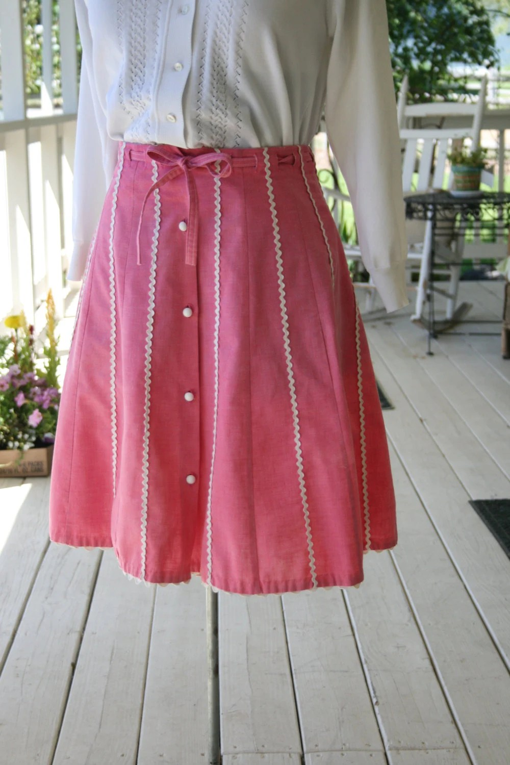 "Vintage 50's Skirt A Line Skirt Pink Rick Rack Trim Cotton""Meadowbank"" Size Small - Medium"