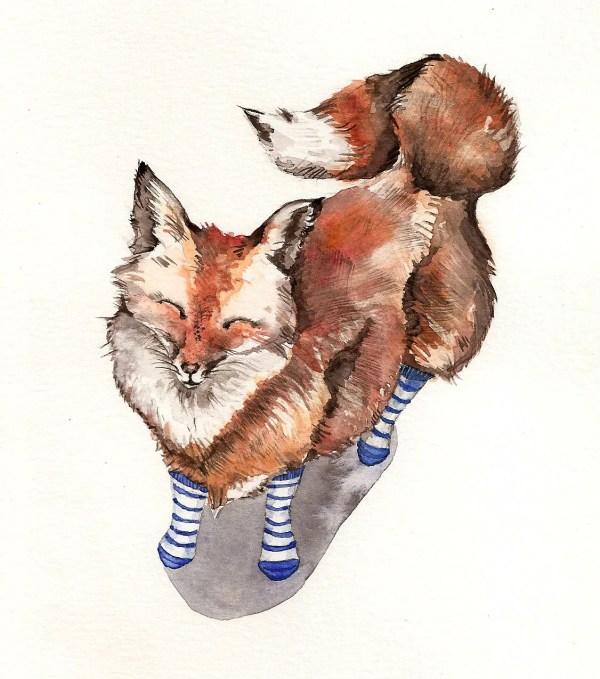 Smiling Red Fox In Blue Socks Art Print Of Watercolor